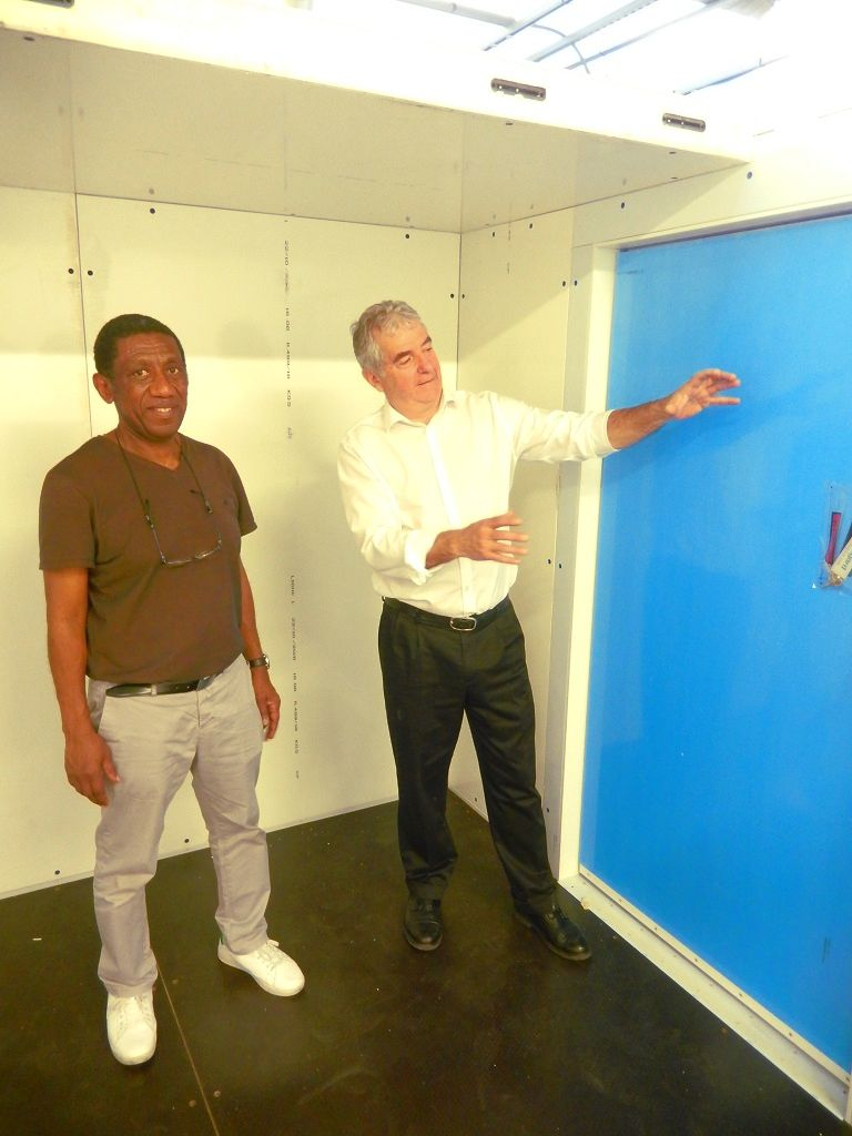 Lionel Bataille introducing the cold room main features to Mr. Saïd