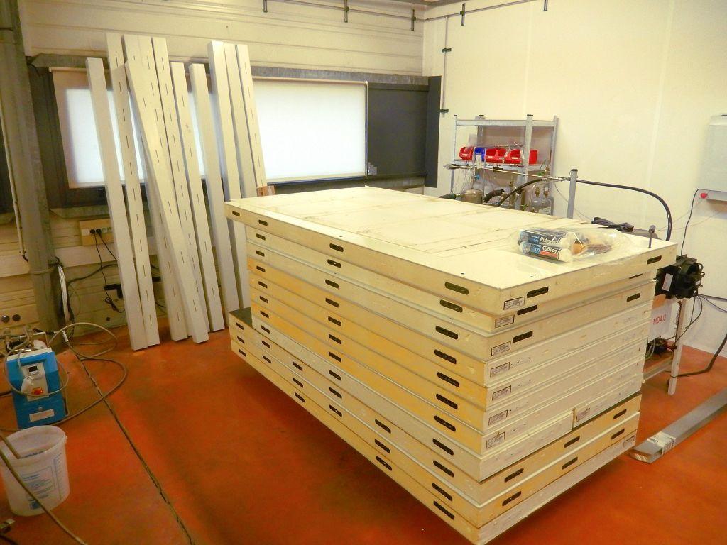The cold room panels prior to assembly